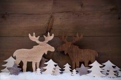 Décoration de Noël, couple d'orignaux dans l'amour, neige, arbre Images stock
