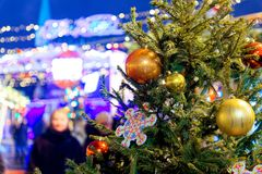 Décoration de Noël des arbres sur la place rouge à Moscou, Russie photographie stock