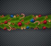 Décoration de Noël des branches d'arbre de Noël, guirlandes, escroquerie illustration de vecteur