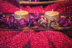 Décoration de Noël, deux bougies Photo stock