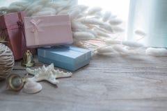 Décoration de Noël et de nouvelle année sur le fond en bois Photographie stock