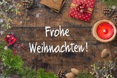 """Décoration de Noël et le message allemand pour le """"Joyeux Noël """" photographie stock libre de droits"""