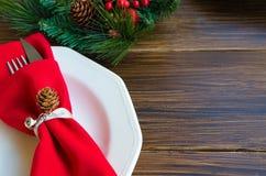 Décoration de Noël pour le dîner de fête Photographie stock libre de droits