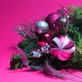Décoration de Noël. Roses indien et boules d'argent sur le tre de Noël Photographie stock
