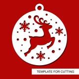 Décoration de Noël - silhouette de cerfs communs dans une boule avec des flocons de neige T illustration de vecteur