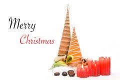 Décoration de Noël sur Joyeux le Noël blanc isolé et des textes photographie stock