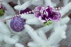 Décoration de Noël sur l'arbre de sapin blanc, les boules pourpres et la fleur Photo libre de droits