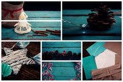 Décoration de Noël sur la table en bois bleue Photos stock
