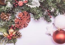 Décoration de Noël sur le fond blanc Photos libres de droits