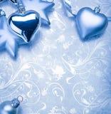 Décoration de Noël sur le fond bleu de cru Photo stock
