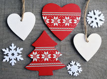 Décoration de Noël sur le vieux fond en bois gris Photo stock