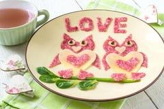 Décoration de nourriture pour le jour de valentines Images libres de droits