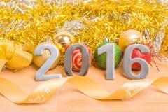 Décoration de nouvelle année, plan rapproché le 2016 Image stock
