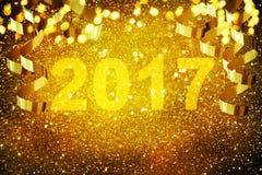 Décoration de nouvelle année, plan rapproché sur les milieux d'or Photos stock