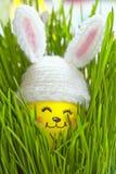 Décoration de Pâques avec l'oeuf mignon dans le chapeau de lapin Images stock