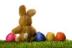 Décoration de Pâques avec les lapins ou le lapin de sucre et oeufs d'isolement sur le blanc Images libres de droits