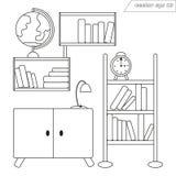 Décoration de pièce de vecteur de Lineart avec des étagères des livres et du globe illustration libre de droits