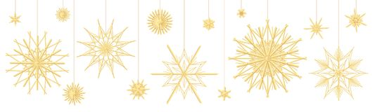 Décoration de Straw Star Collection Traditional Christmas illustration stock