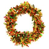 Décoration de Tinsel Christmas sur un fond blanc Image stock