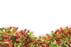 Décoration de Tinsel Christmas sur un fond blanc Photos stock