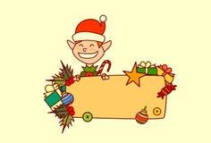 Décoration de vacances d'hiver de concept de Joyeux Noël et de bonne année de bannière vide de prise d'Elf Images libres de droits