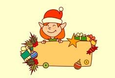 Décoration de vacances d'hiver de concept de Joyeux Noël et de bonne année de bannière vide de prise d'Elf Photo stock