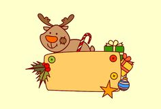 Décoration de vacances d'hiver de concept de Joyeux Noël et de bonne année de bannière vide de prise de renne Photos stock