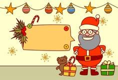 Décoration de vacances d'hiver de concept de Joyeux Noël et de bonne année des textes de Santa Showing Empty Banner For Photographie stock libre de droits