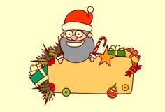 Décoration de vacances d'hiver de concept de Noël et de bonne année de Santa Hold Empty Banner Merry Photo libre de droits