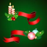 Décoration de vacances de Noël avec les rubans rouges Image stock