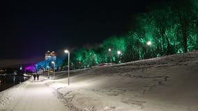Décoration de vacances de nouvelle année de Noël à Moscou la nuit, Russie banque de vidéos