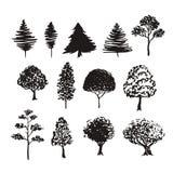 Décoration de vecteur de silhouette d'arbres Les croquis tirés par la main ont isolé l'ensemble Image libre de droits