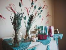 Décoration de vintage avec des fleurs de lavande Images libres de droits