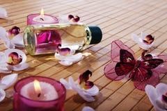 Décoration de Wellnes dans le style rose et pourpre Image stock