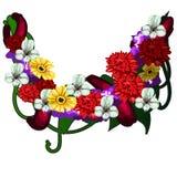 Décoration des fleurs rouges, jaunes et blanches Photos libres de droits