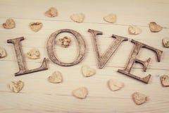 Décoration en bois d'amour de mot Photos libres de droits
