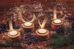 Décoration en bois d'amour de mot Images libres de droits