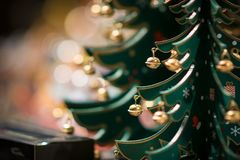 Décoration en bois d'arbre de Noël de jouet photographie stock