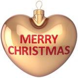 Décoration en forme de coeur d'or de bille de Joyeux Noël illustration libre de droits