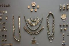 Décoration en pierre Mycenaean dans le musée de l'archéologie, Athènes, Grèce photographie stock libre de droits