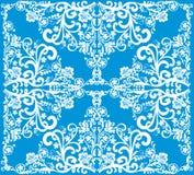 Décoration enroulée blanche sur le bleu illustration de vecteur
