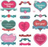 Décoration et bandes en forme de coeur de Valentine illustration de vecteur