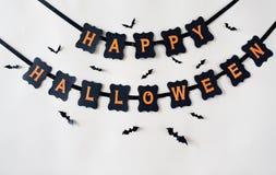 Décoration et chauves-souris heureuses de guirlande de partie de Halloween Photo libre de droits