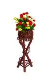 Décoration et collection de fleurs artificielles de tissu dans en bois Images stock