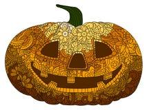 Décoration et concept de vacances Livre de coloriage Antistress pour des adultes Coloré aux nuances oranges Tête de potiron, Hall illustration de vecteur