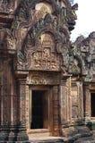 Décoration exquise de Banteay Srei Photo stock