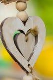 Décoration extérieure de coeur d'amour de bois de construction Image libre de droits