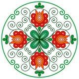 Décoration florale hongroise dans le cadre arrondi illustration de vecteur