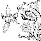 Décoration florale noire et blanche et BIR abstrait Photographie stock