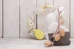 Décoration heureuse de Pâques pour la carte de voeux Lapin de Pâques, guirlande, Images libres de droits